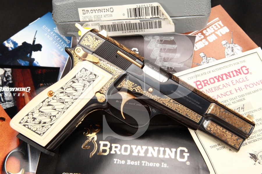 1 of 750 FN Browning Hi-Power, American Eagle Renaissance 4 5/8 INCH SA Semi-Automatic Pistol & Box MFD 1995
