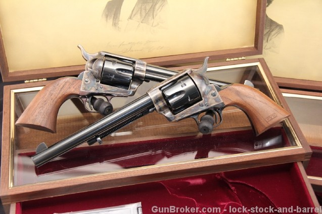 Cased U.S. Colt 1873 Peacemaker Centennial .45 Cal Single Action Army Revolver Set, Consecutive - C&R OK