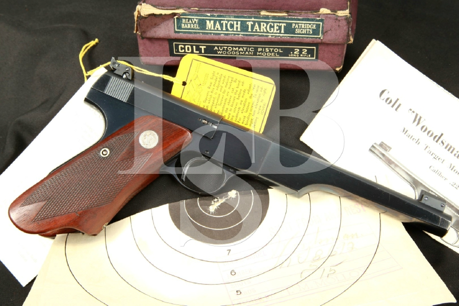 1st Series Colt Woodsman Match Target 'Bulls Eye' Target Pistol Elephant Ear Grips, Box & Paperwork, MFD 1940 C&R