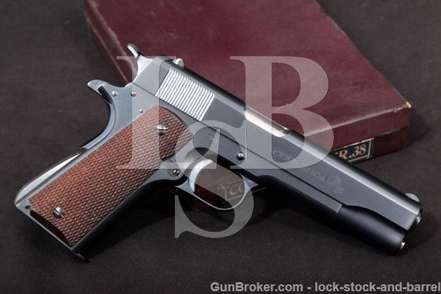 "1st YEAR! Colt Super .38 Automatic 1911A1 1911-A1 Blue 5"" SA Semi-Automatic Pistol & Box, 1929 C&R"