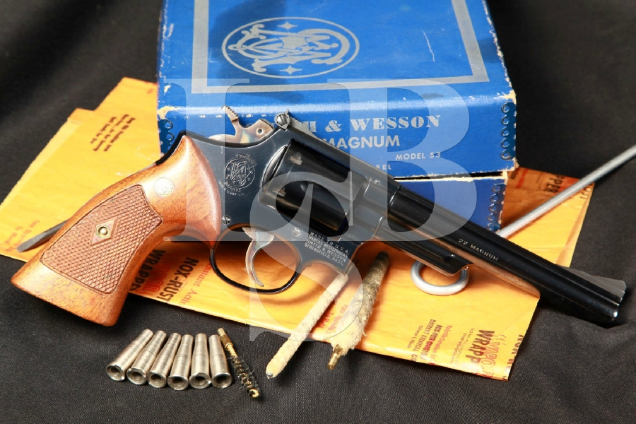 1st Year of Production Smith & Wesson S&W Model 53 the Jet, the .22 Centerfire Magnum 6 Double Action Revolver, Inserts & Box, 1961 C&R