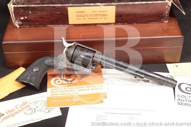 Colt Custom Shop Class D Engraved Single Action Army SAA .44-40 WCF Single Action Revolver, MFD 1983