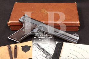 """LSB#: 191025DC60 Make: Colt Model: Woodsman Match Target 2nd Series Serial Number: 124704-S Year of Manufacture: 1953 (https://www.colt.com/serial-lookup) Caliber: .22 Long Rifle Action Type: Single Action Semi-Auto with Removable Magazine Markings: The left side of the slide is marked """"COLT"""", """"AUTOMATIC / CAL. 22 LONG RIFLE"""". The left side of the frame is marked with a rampant colt over """"MATCH TARGET"""" between the slide and barrel. The left barrel flat is marked """"COLT'S MFG. CO. HARTFORD CT. U.S.A. / U.S. PAT. D-121,317"""". The right of the frame is marked """"124704-S"""" over the trigger. The right of the trigger guard is marked """"1"""", the left is marked """"R"""" and """"VP"""" in triangle. Barrel Length: 6? Fluted Slab-Side Sights / Optics: This pistol is mounted with a flat topped square notch rear sight adjustable for windage and elevation and dovetailed into the slide. The front sight is a Patridge style blade that is pinned into a serrated, ramped base fixed to the top of the barrel. Stock Configuration & Condition: The grips are two-piece checkered """"Coltwood"""" plastic grips with a rampant colt molded into the top of the right panel. The grips show minor handling wear wtih a few scattered light marks. The panels have shrunk as Coltwood grips tend to, with some warping at the indexing posts and edges. The checkering is mostly sharp and there is good detail on the rampant colt. Overall, the grips are in about Good-Very Good condition and would easily rate Fine but for the shrinkage. Type of Finish: Blued Finish Originality: Original Bore Condition: The bore is bright and the rifling is sharp. There is no erosion in the bore. Overall Condition: This pistol retains about 95% of its metal finish. The finish is lightly thinning at all edges. The slide has a couple of spots of light surface oxidation on the right at the bottom edge. The sides of the frame show minor wear from the grip panels, visible due to their shrinkage. The grip straps show light handling wear. There are a few other """