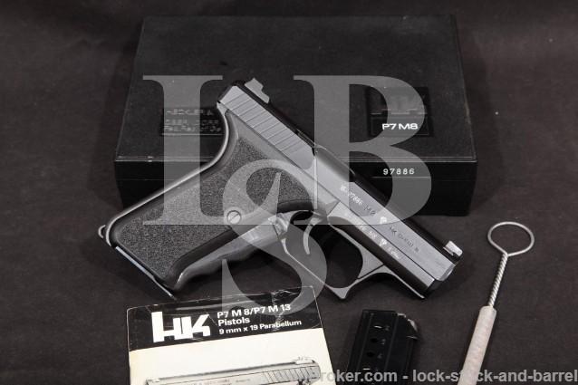 Heckler & Koch HK H&K Mdoel P7M8 Squeeze-Cock 9mm Semi-Auto Pistol, MFD 1988