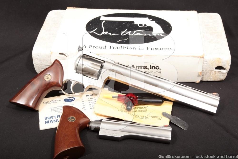 """Dan Wesson Monson 744-V 9 3/4"""" & 6"""" Stainless .44 Mag Revolver, MFD 1992"""