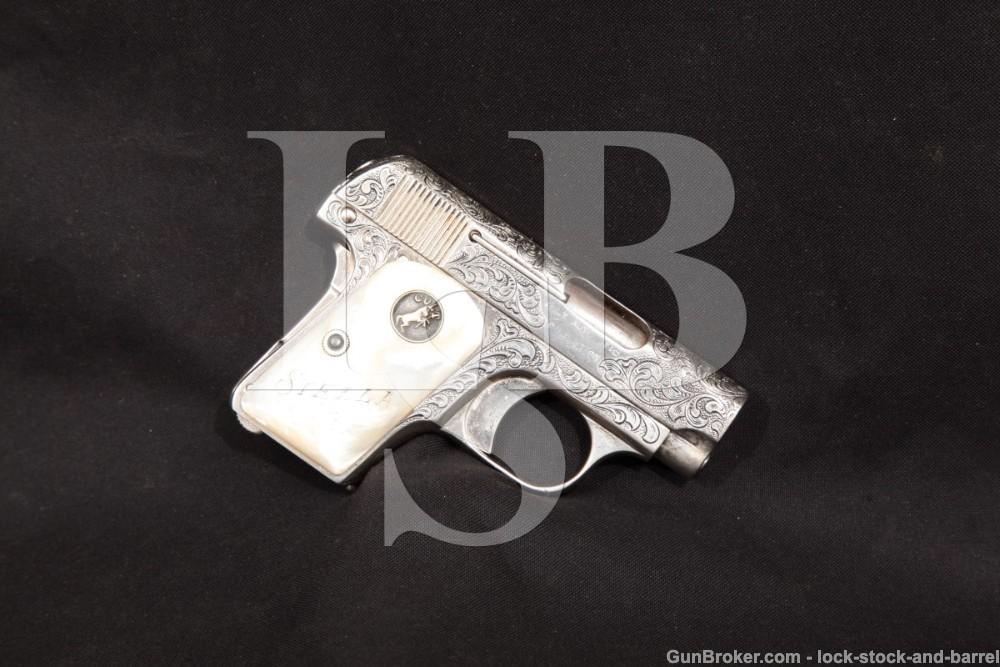 Engraved Colt Model 1908 Vest-Pocket Hammerless .25 ACP Semi-Auto Pistol, 1914 C&R