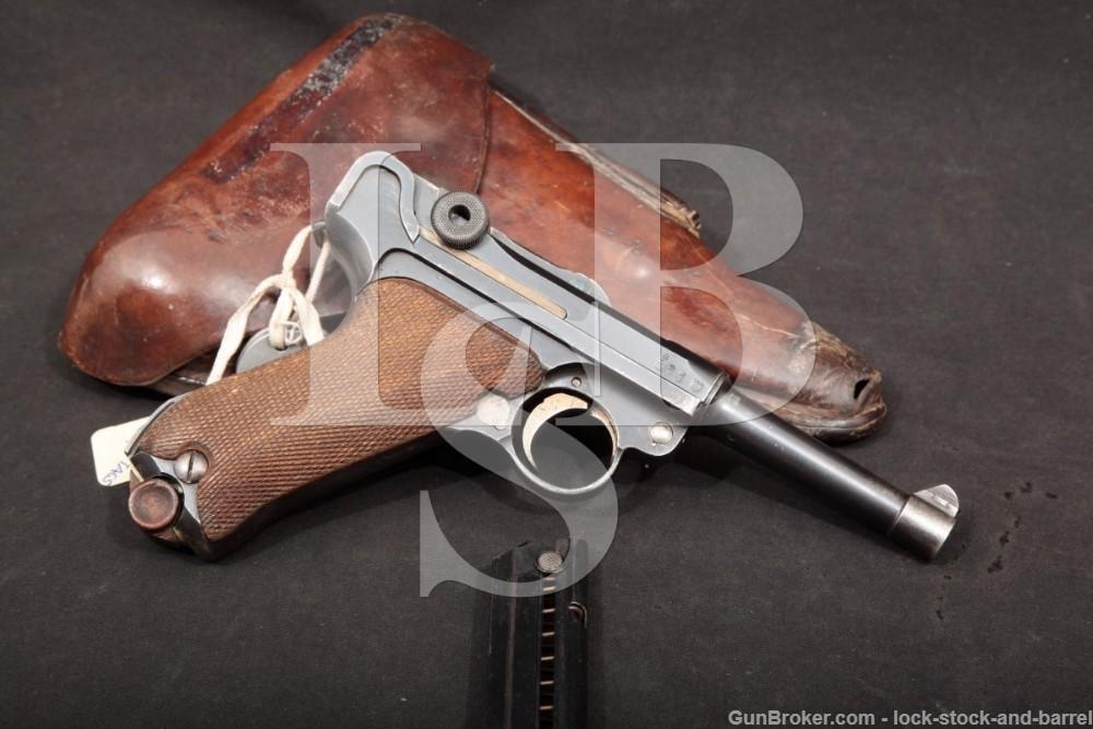 Erfurt 1914 P.08 Luger 9mm Semi-Auto Pistol & WWI Dogtags, MFD 1918 C&R