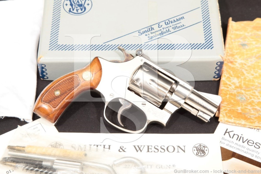 Smith & Wesson S&W Model 34-1 1953 22/32 Kit Gun Nickel .22 LR Revolver & Box, MFD 1973-77