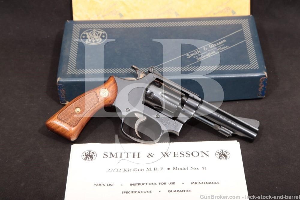 Smith & Wesson S&W Model 51 1960 .22/32 Kit Gun .22 Magnum WMRF Revolver, MFD 1973-74