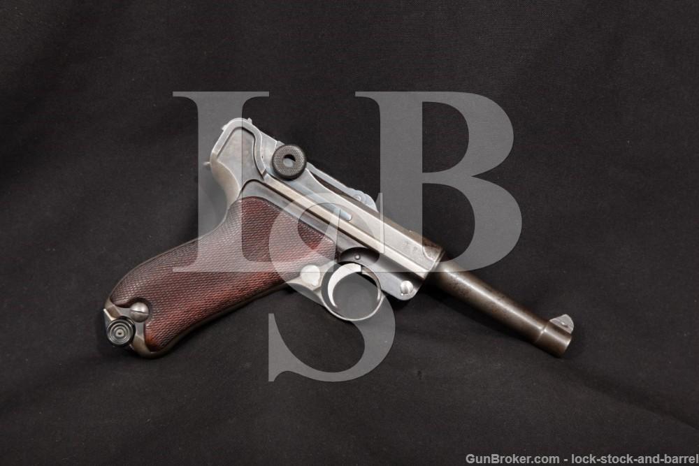WWI DWM 1908 P.08 Luger Unit Marked 9mm Semi-Auto Pistol, MFD 1911 C&R