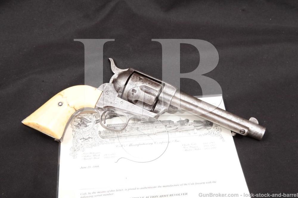 "Colt Single Action Army SAA 5 1/2"" Black Powder Frame .45 LC Single Action Revolver, MFD 1883 Antique"