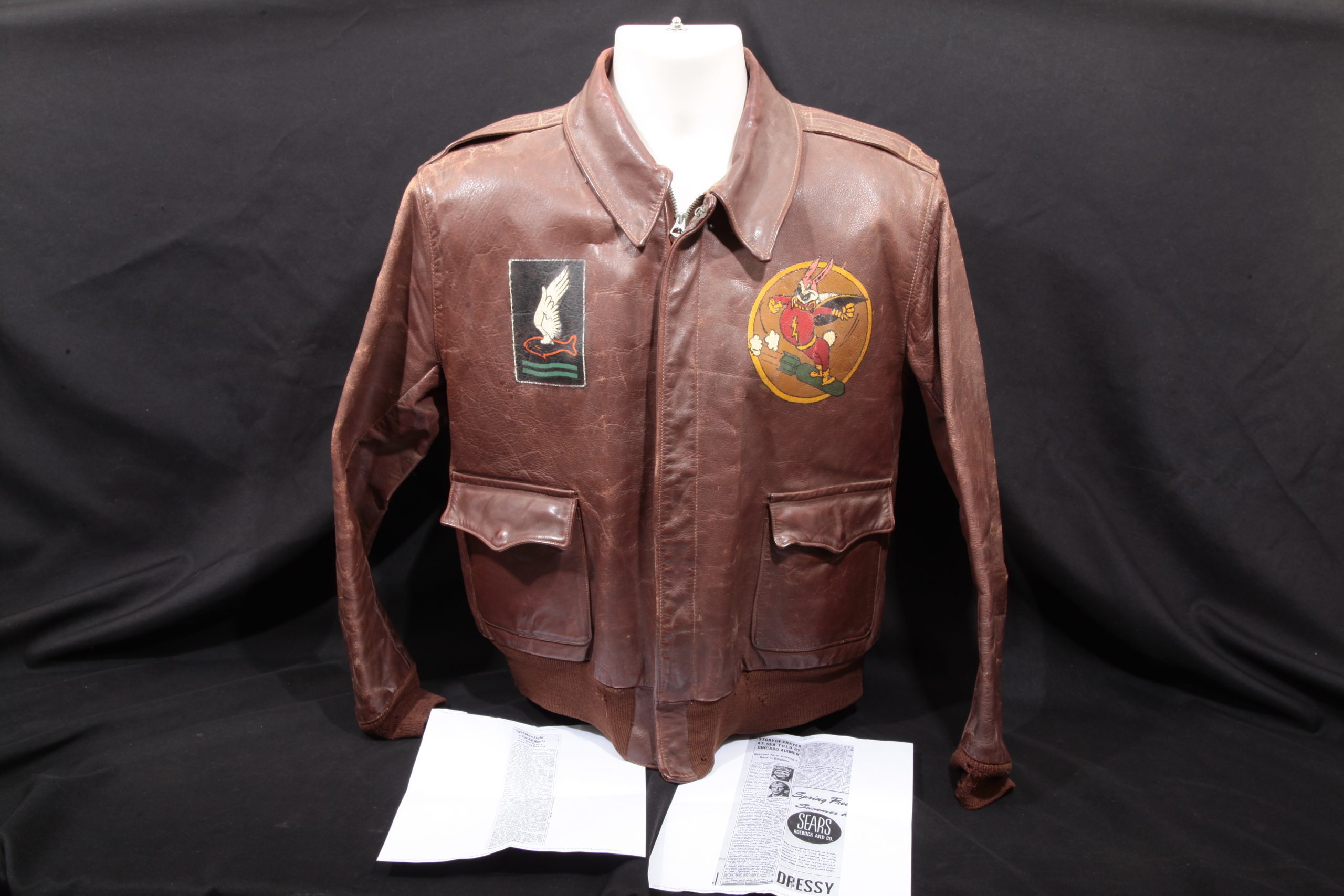 "B-24 Gunner Wilfred Haschke 715th BS, 448th BG ""Goldfish Club"" Painted A2 Jacket"