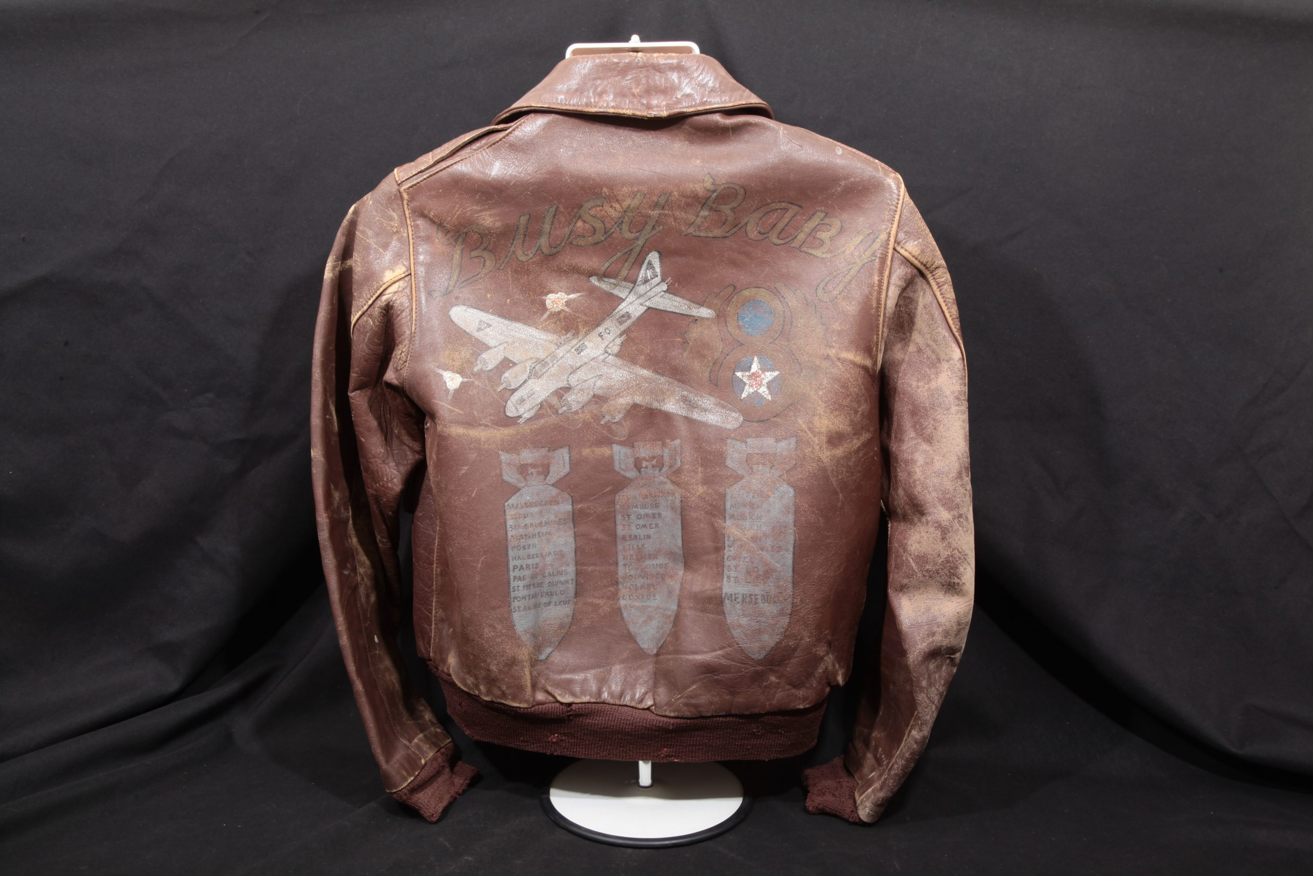 "John Corey – WWII Painted B-17 ""Busy Baby"" A-2 Flight Jacket, 527th Bomb Squadron"
