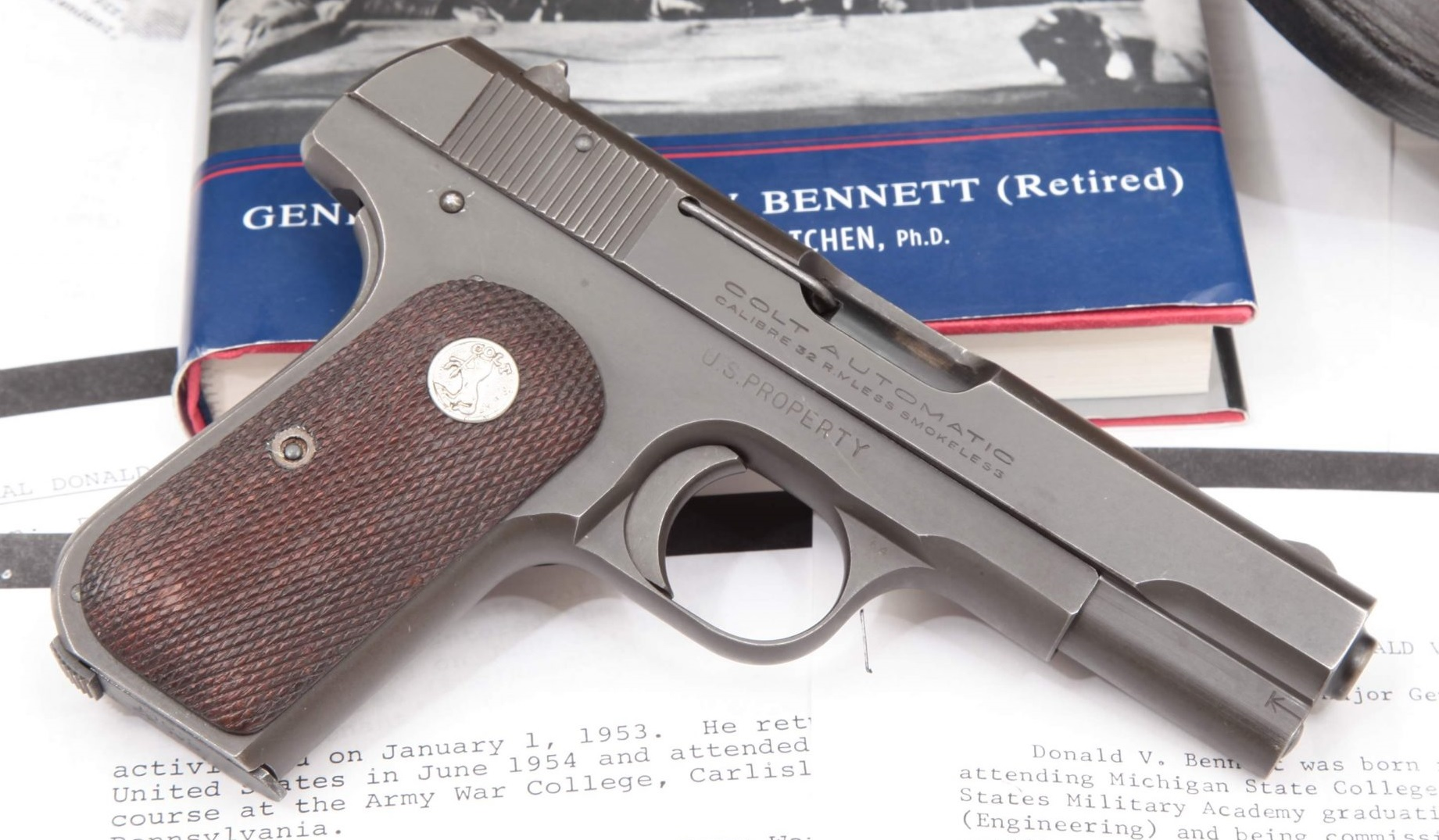 Colt Model 1903 General Officer's Pistol Issued to WWII 4-Star General Donald Vivian Bennett