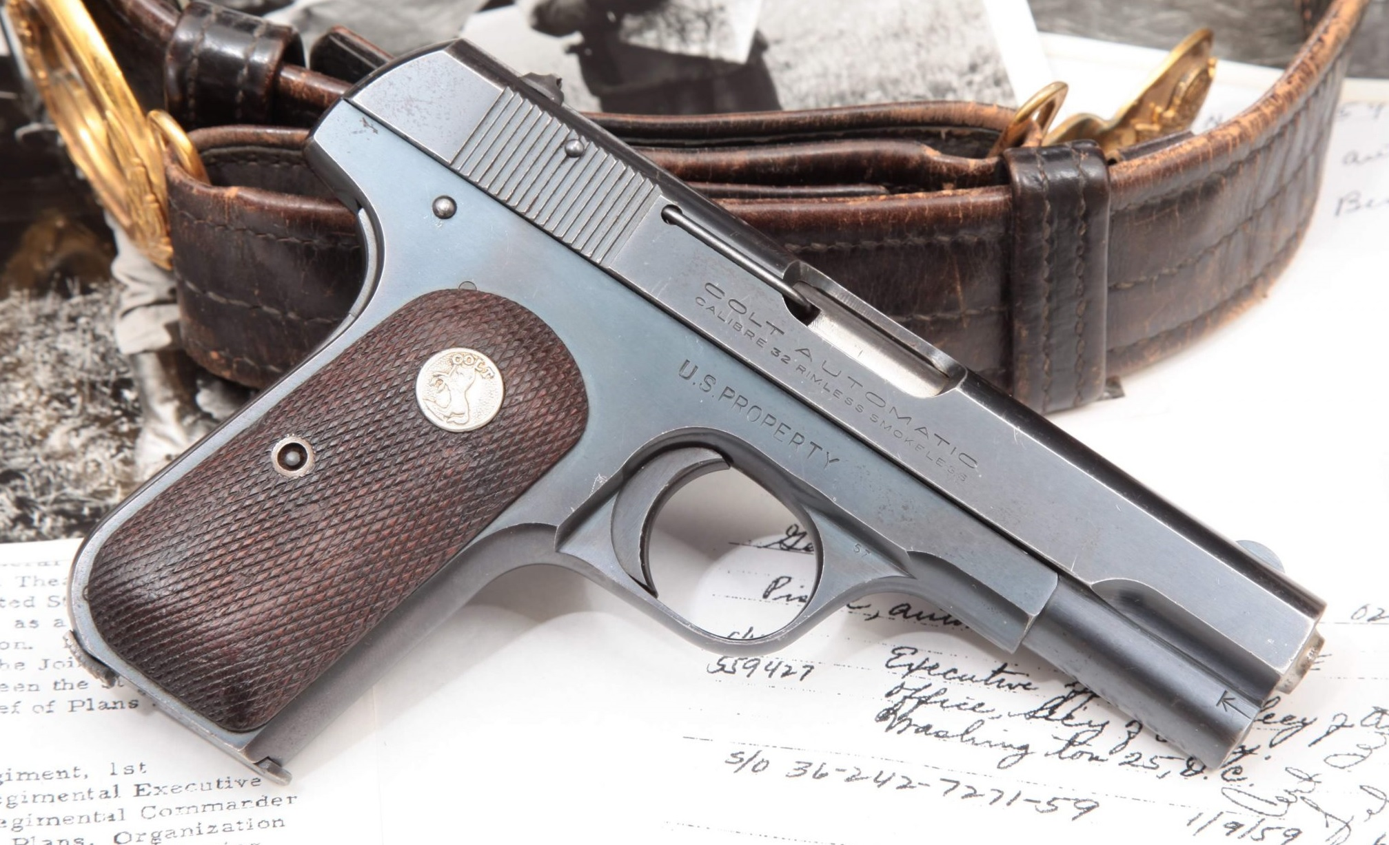 Colt Model 1903 General Officer's Pistol Issued to Major General Benjamin Franklin Taylor, WWII CBI