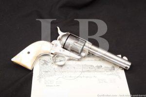 Colt 1st Generation Single Action Army Nickel & Pearl Black Powder Frame .45 Revolver, MFD 1892 Antique