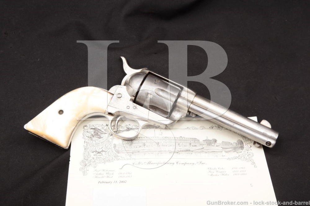 Colt 1st Generation Single Action Army Nickel & Pearl Black Powder Frame .45 Revolver, MFD 1892 Antique