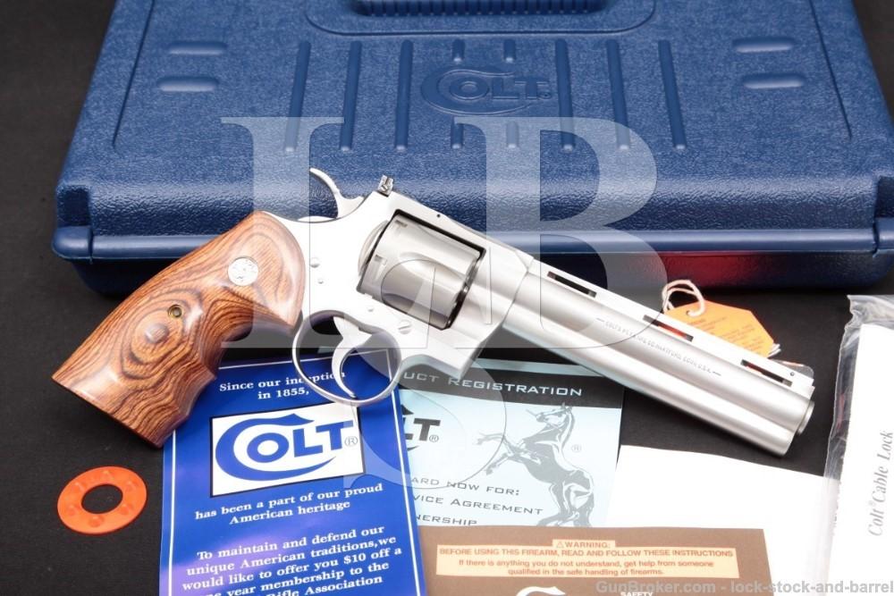 Colt Python Elite I3060CS Stainless 6″ .357 Mag Revolver & Box, MFD 2003