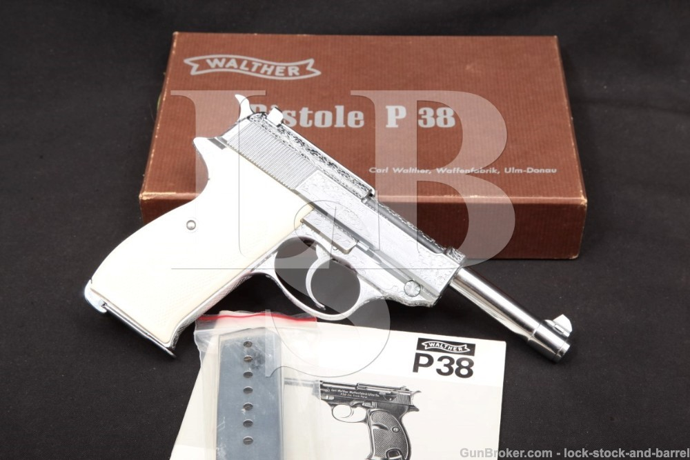Factory Engraved Walther P-38 P38 Chrome 9mm Semi-Auto Pistol & Box, 1971