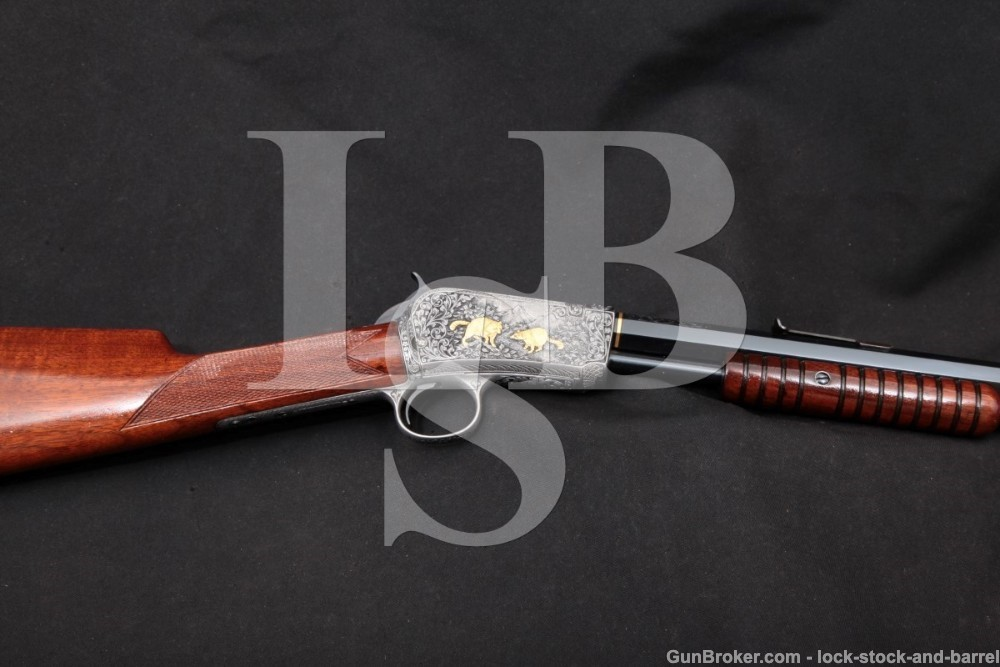 Schultz Engraved Winchester 1890 90 .22 LR Pump Action Rifle, MFD 1912 C&R
