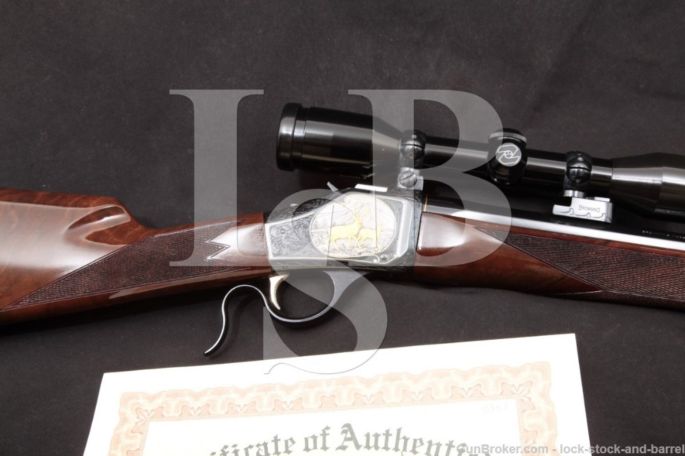 Angelo Bee Engraved Browning Model 1885 (Winchester) 7mm Remington Magnum Rifle, MFD 1994