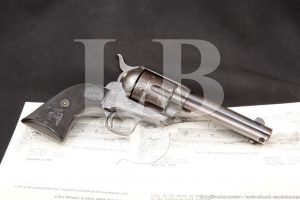 Colt 1st Generation Etched-Panel Frontier Six Shooter SAA Single Action Army .44-40 WCF Revolver, MFD 1884 Antique