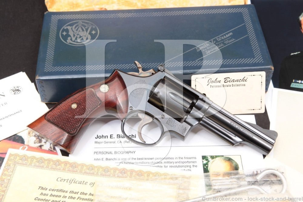 John Bianchi Collection: Smith & Wesson S&W Model 19-3 4″ Double Action .357 Magnum Revolver, MFD 1970