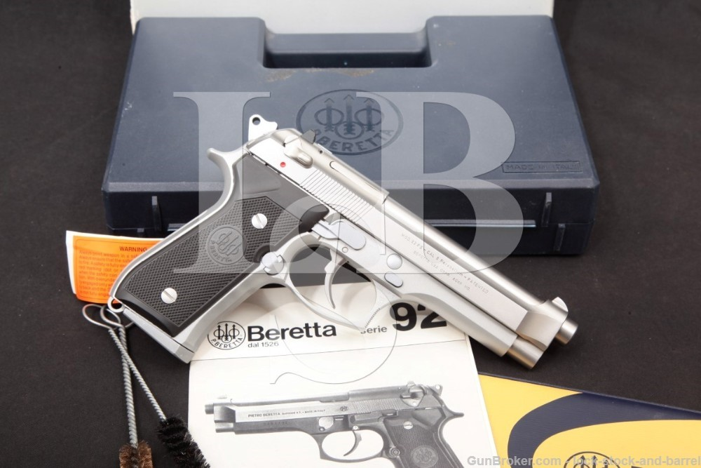 "Beretta Italian Model 92FS Inox 9mm 4.9"" Stainless DA/SA Semi-Automatic Pistol"