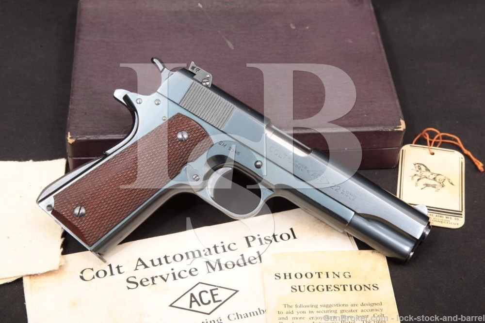 Colt Service Model Ace 1911 .22 LR Semi-Auto Pistol & Box, MFD 1942 C&R