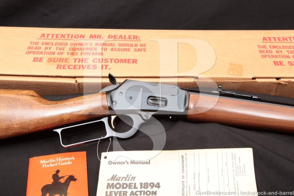 Marlin JM Marked Model 1894 20″ .44 Mag Lever Action Rifle & Box, MFD 1979
