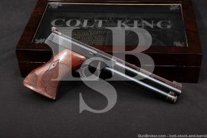 King Custom Colt Woodsman 1st Series .22 LR Semi-Auto Pistol, MFD 1938 C&R, Super Target Rib, Weight, Reflector Ramp, Roper Grips…