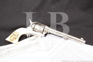 Rio Grande City 1876 Texas Border Troubles Inscribed Colt Single Action Army SAA Nickel .45 Revolver, MFD 1875 Antique