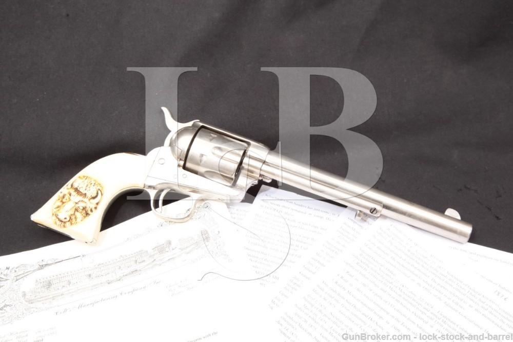 Rio Grande City 1876 Texas Border Troubles Inscribed Colt Single Action Army SAA Nickel .45 Revolver, MFD 1875 Antique