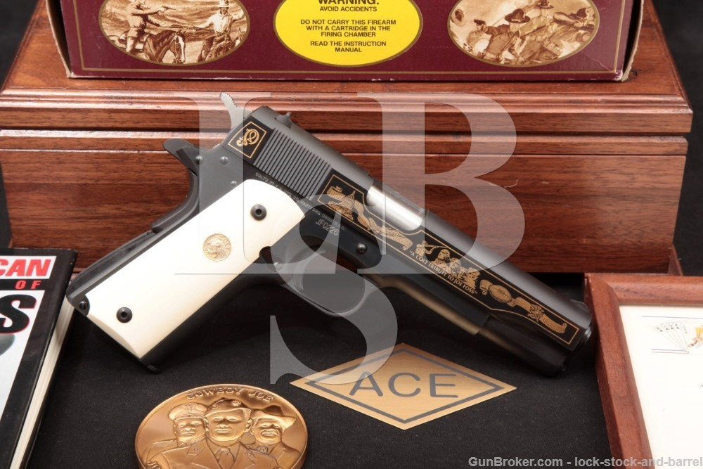Colt Joe Foss All American Hero Commemorative 1911 .45 ACP Pistol, MFD 1989: Case, Letter, Autobiography, Box, South Dakota
