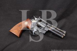 Floyd Warren Custom Engraved Colt Python, Blue 4 INCH .357 Magnum Revolver, MFD 1962 C&R