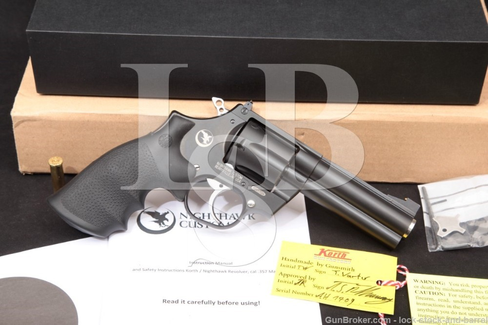 Korth Nighthawk Custom Model Mongoose .357 Magnum 4 INCH Black DLC Double Action Revolver, MFD 2018