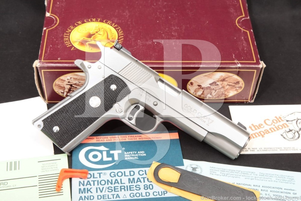 Colt Gold Cup National Match Stainless 1911 .45 ACP Semi-Auto, 1990 ATF C&R