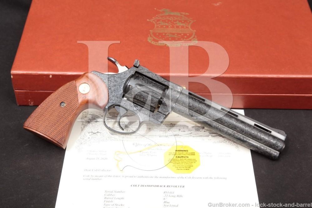 Factory D Engraved Colt Diamondback Model Blue 6″ .22 LR Revolver, 1979