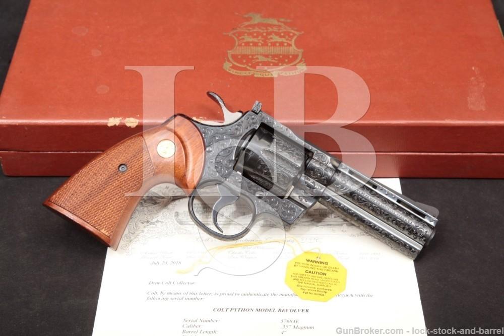 Factory D Engraved Colt Python Model Blue 4″ .357 Magnum Revolver, MFD 1977 Custom Shop Presentation Case & Letter, I3640