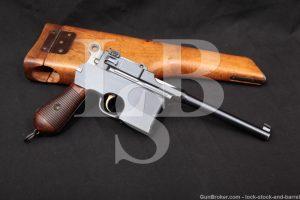 "Mauser Model 1896 C96 Broomhandle 7.63mm .30 Semi-Auto Pistol 1899-1902 C&R Slab Side Flat Panel Large Ring Four-Groove 5 1/2"""