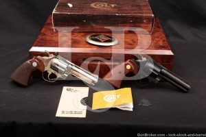 "Pair Colt Diamondback 4"" .22 LR Revolvers Blue & Nickel MFD 1976, 1978"