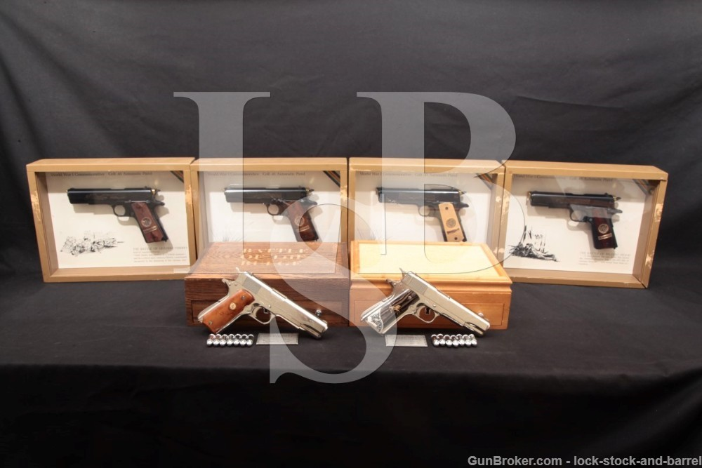 Set of 6 Serial-Number Matching WWI & WWII Commemorative 1911 & 1911A1 C&R
