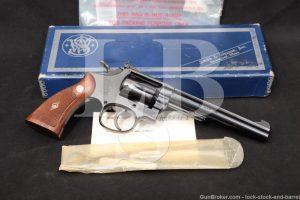 Smith & Wesson S&W Model 48 4-Screw .22 Magnum Revolver & Box, MFD 1960 C&R