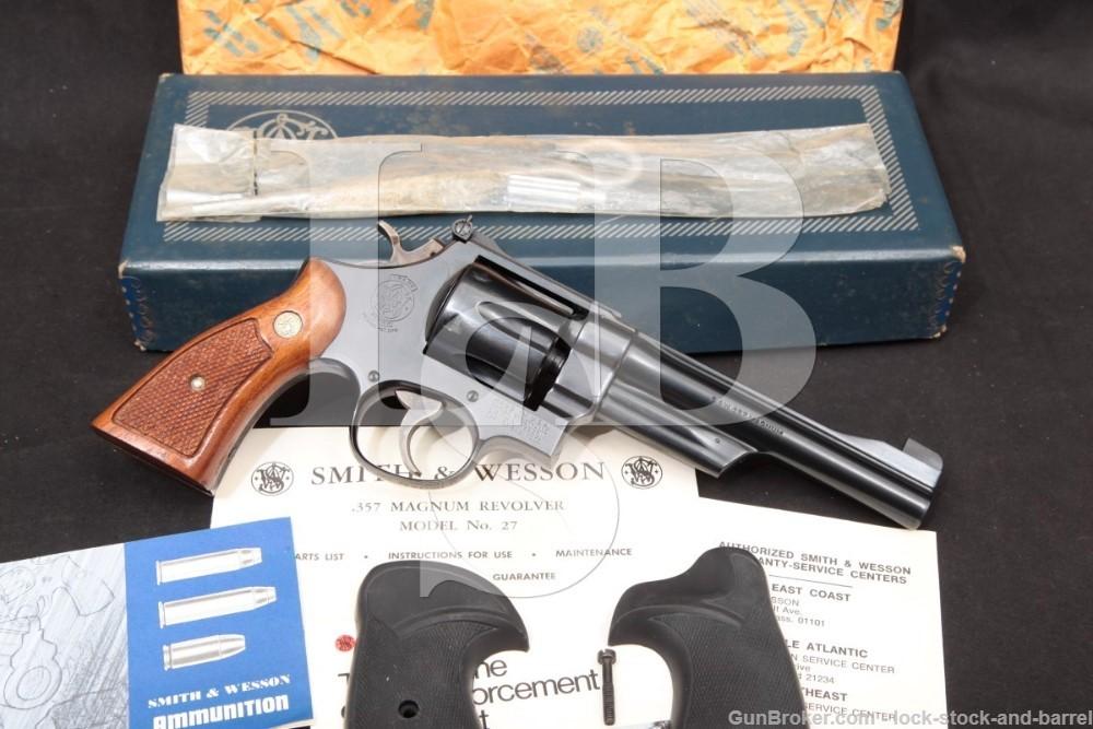"Smith & Wesson S&W Model 27-2 6"" Blue The .357 Magnum Revolver, MFD 1973"
