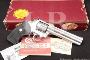 "Colt 1st Year King Cobra 6"" Stainless .357 Magnum Revolver, MFD 1986 NO CA"