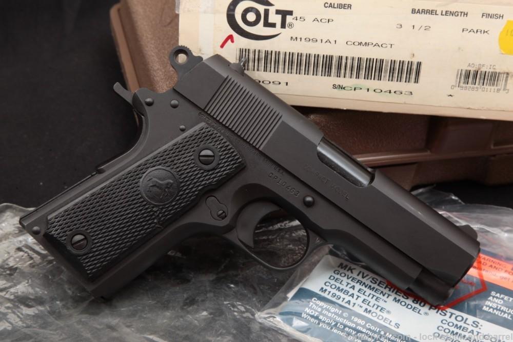 Colt M1991A1 Compact 09091 Officer's 1911 .45 ACP Semi-Auto Pistol, 1993