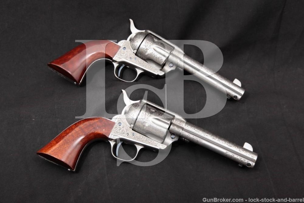 Pair Engraved Uberti Taylors Colt 1873 SAA Repro .45 LC Revolvers 2003