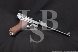 WWI German DWM Long P.08 Artillery Luger 9mm Semi-Auto Pistol, MFD 1916 C&R