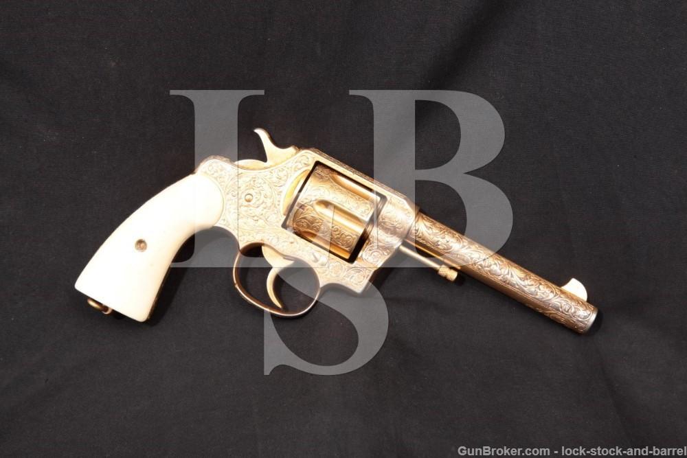 Engraved Gold USMC Colt New Service Model 1909 .45 Revolver, MFD 1910 C&R