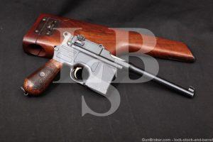 Mauser Model 1896 C96 Broomhandle 7.63mm .30 Cal Semi-Auto Pistol, 1912 C&R